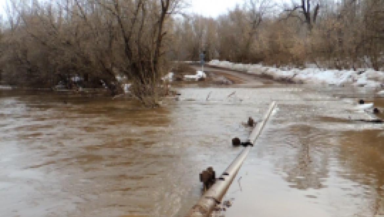 Подтоплен низководный мост в районе с. Плешаново