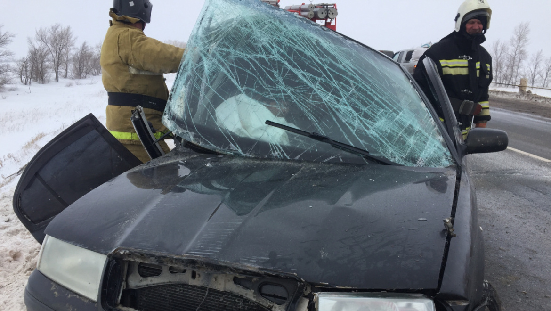 Пожарные-спасатели провели деблокирование пострадавших в ДТП